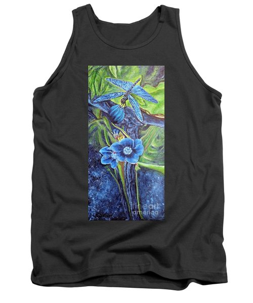 Dragonfly Hunt For Food In The Flowerhead Tank Top by Kimberlee Baxter