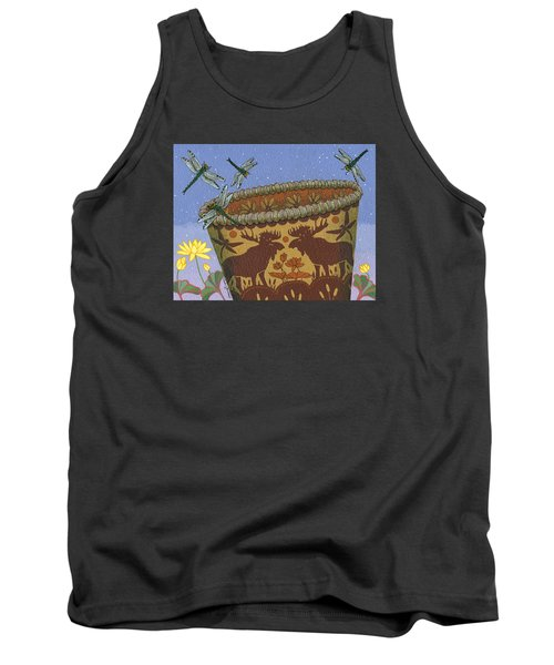 Tank Top featuring the painting Dragonfly - Cohkanapises by Chholing Taha