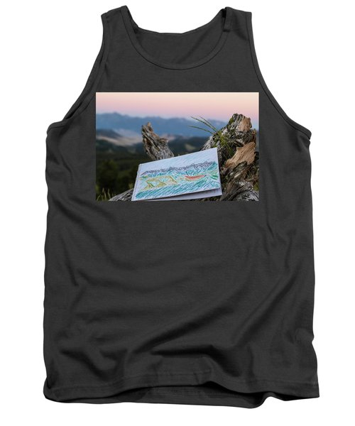 Drawing Of Montanas Rocky Mountains Tank Top