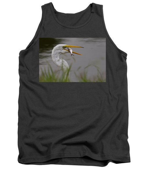 Tank Top featuring the photograph Egret Having Lunch by Jerry Gammon