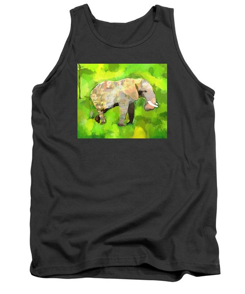 Tank Top featuring the painting Elephant 4 by Jeanne Fischer