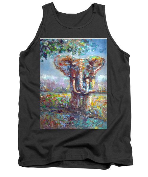 Tank Top featuring the painting Elephant Thirst by Bernadette Krupa