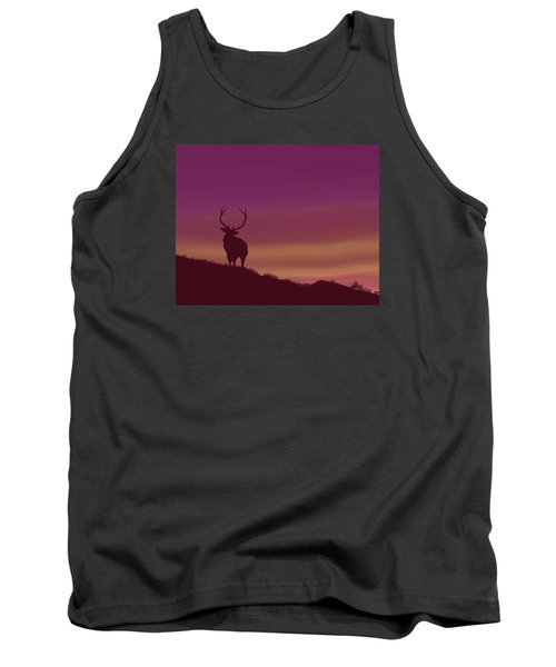 Tank Top featuring the digital art Elk At Dusk by Terry Frederick