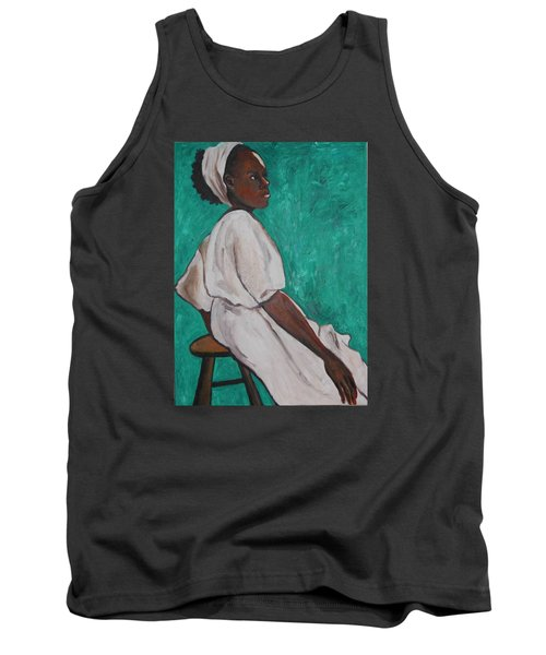 Tank Top featuring the painting Ethiopian Woman In Green by Esther Newman-Cohen