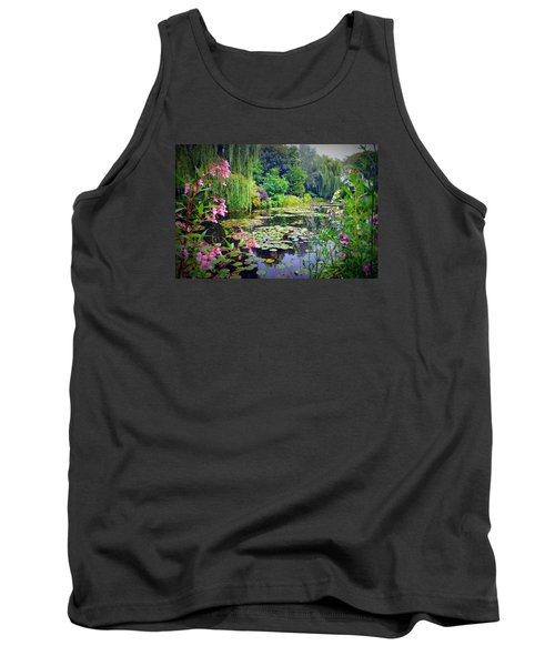 Fairy Tale Pond With Water Lilies And Willow Trees Tank Top by Carla Parris
