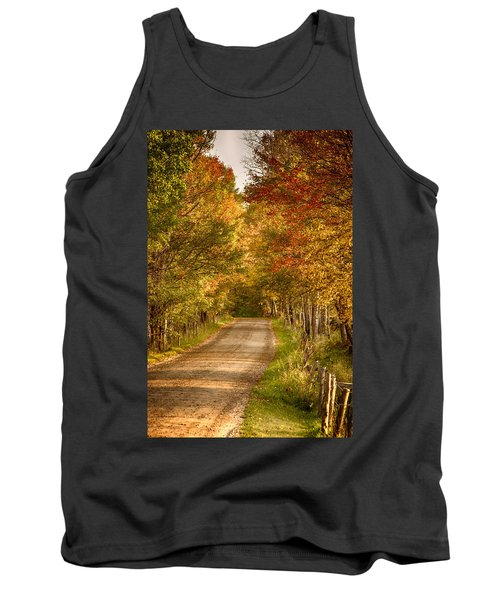Tank Top featuring the photograph Fall Color Along A Peacham Vermont Backroad by Jeff Folger