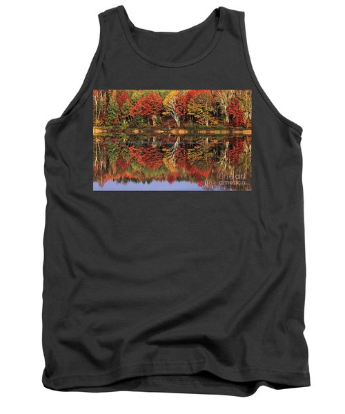 Tank Top featuring the photograph Fall Color Reflected In Thornton Lake Michigan by Dave Welling