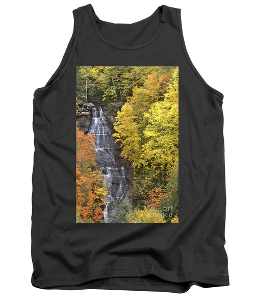 Tank Top featuring the photograph Fall Color Surrounds Chapel Falls On The Michigan Upper Peninsula by Dave Welling