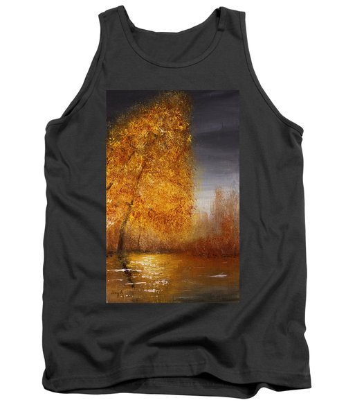 Fall Lake Reflections Tank Top by Gray  Artus
