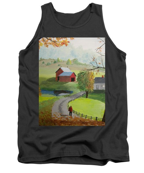 Tank Top featuring the painting Fall Walk by Norm Starks
