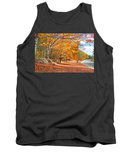 Tank Top featuring the photograph Falling Leaves On The Road To Bentley by Rita Brown