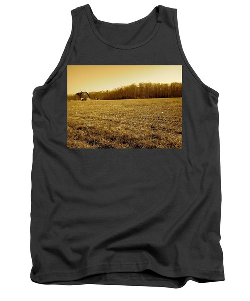 Farm Field With Old Barn In Sepia Tank Top by Amazing Photographs AKA Christian Wilson