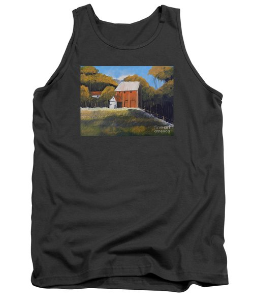 Tank Top featuring the painting Farm With Red Barn by Pamela  Meredith
