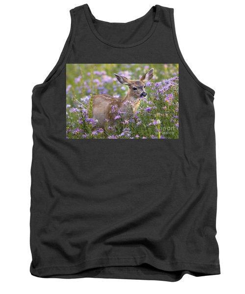 Fawn In Asters Tank Top by Sonya Lang