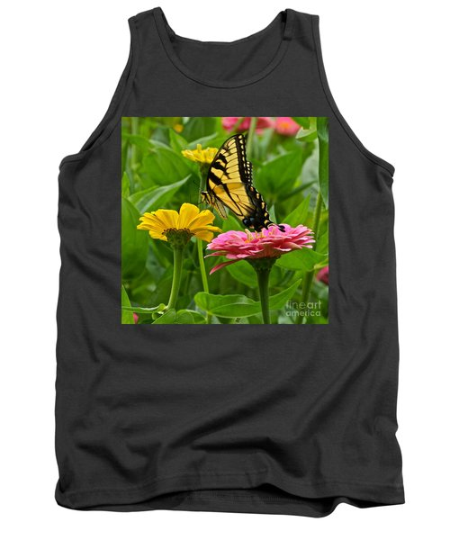 Female Tiger Swallowtail Butterfly With Pink And Yellow Zinnias Tank Top