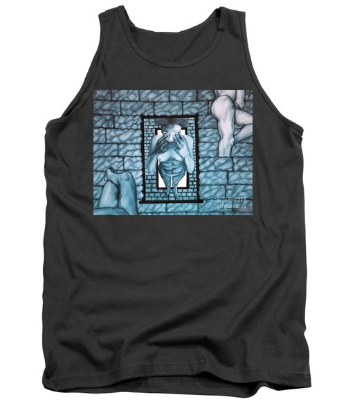 Tank Top featuring the painting Female's Gray World by Fei A