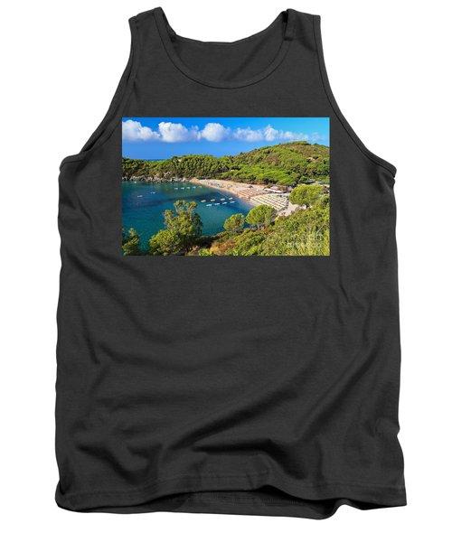 Fetovaia Beach - Elba Island Tank Top by Antonio Scarpi