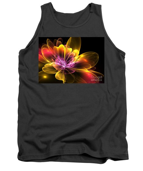 Tank Top featuring the digital art Fire Flower by Svetlana Nikolova
