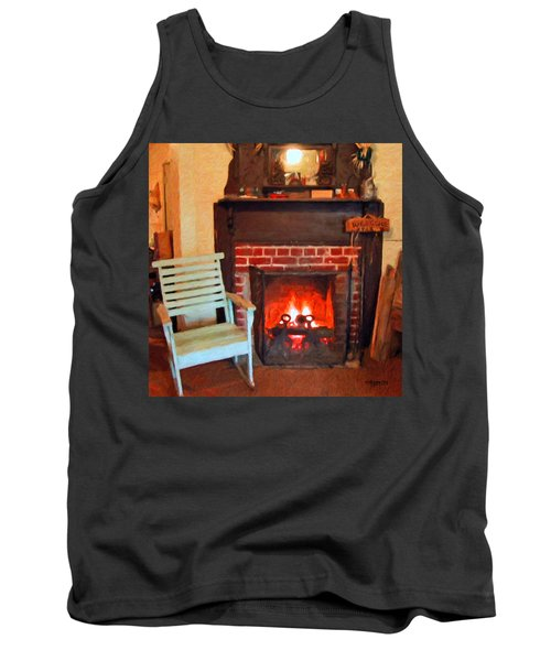 The Family Hearth - Fireplace Old Rocking Chair Tank Top by Rebecca Korpita