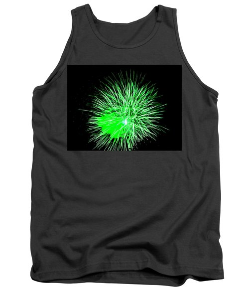 Tank Top featuring the photograph Fireworks In Green by Michael Porchik