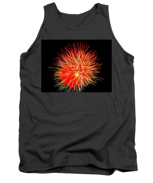 Tank Top featuring the photograph Fireworks In Red And Yellow by Michael Porchik