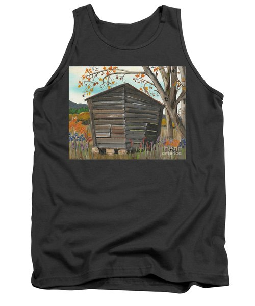 Tank Top featuring the painting Autumn - Shack - Woodshed by Jan Dappen