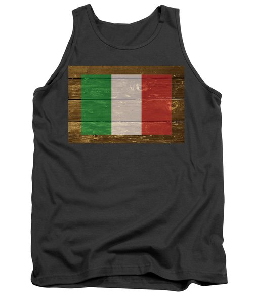 Italy National Flag On Wood Tank Top