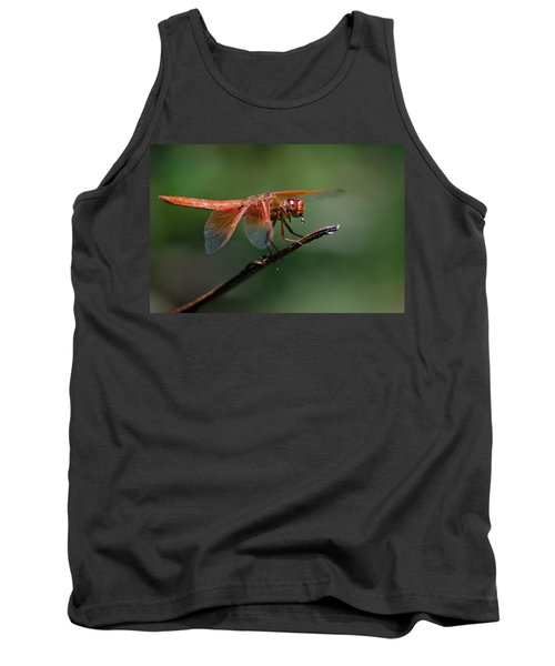 Flame Skimmer Dragonfly Tank Top by Linda Villers