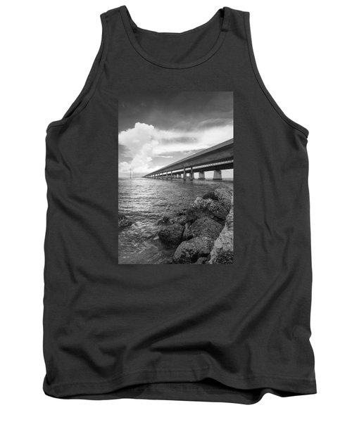 Florida Keys Seven Mile Bridge South Bw Vertical Tank Top by Photographic Arts And Design Studio