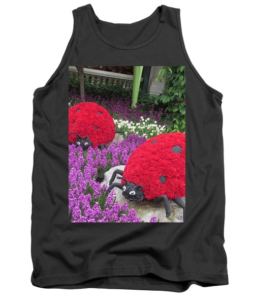 Tank Top featuring the photograph Flower Garden Ladybug Purple White I by Navin Joshi