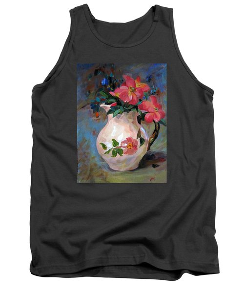 Tank Top featuring the painting Flower In Vase by Jieming Wang