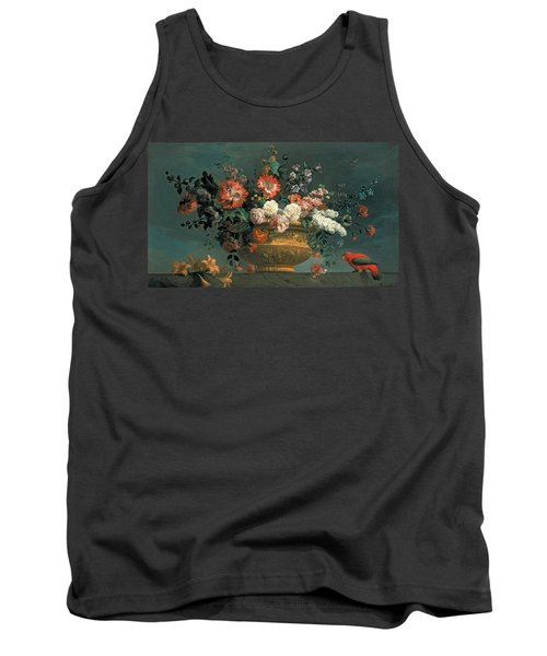 Flower Piece With Parrot Tank Top