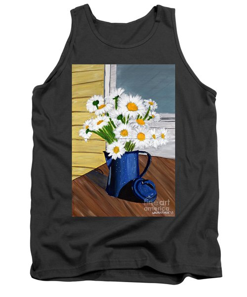 Tank Top featuring the painting Flowers In A Teapot by Laura Forde