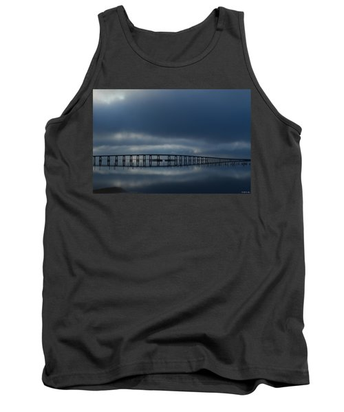 Tank Top featuring the photograph Foggy Mirrored Navarre Bridge At Sunrise by Jeff at JSJ Photography