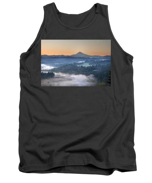 Tank Top featuring the photograph Foggy Sunrise Over Sandy River And Mount Hood by JPLDesigns