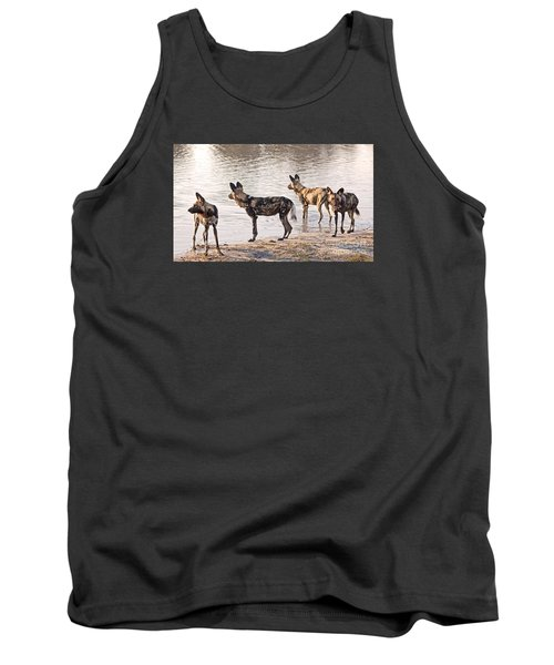 Tank Top featuring the photograph Four Alert African Wild Dogs by Liz Leyden