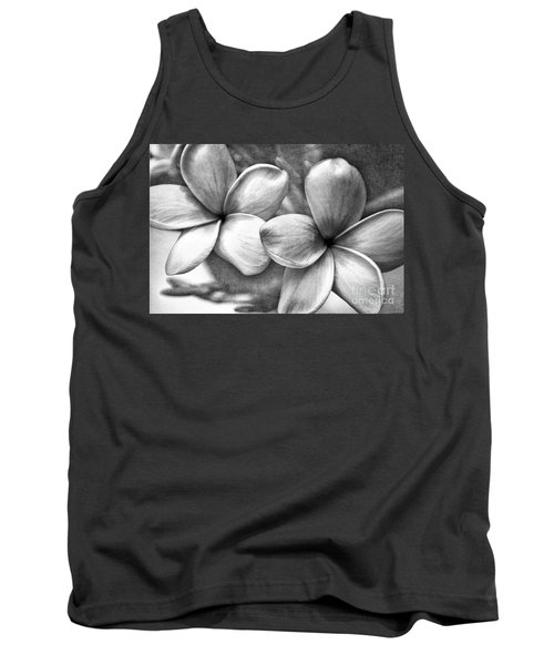 Tank Top featuring the photograph Frangipani In Black And White by Peggy Hughes