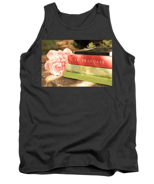 Tank Top featuring the photograph French Books And Peony by Brooke T Ryan