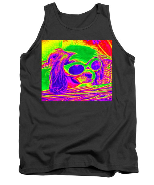 Front Seat Driver Pop Art - Puppy Mania Tank Top