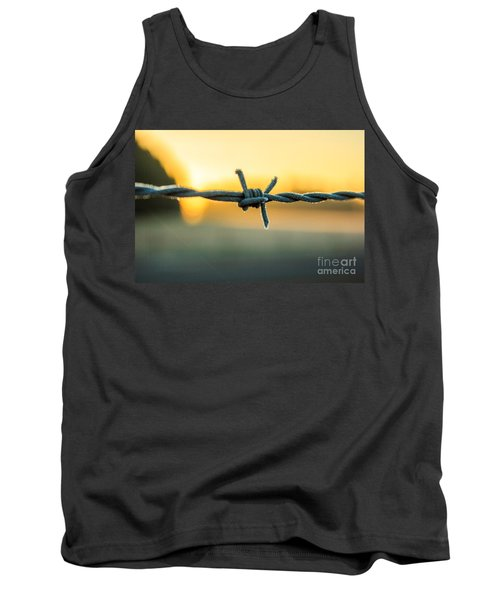 Frost On Barbed Wire At Sunrise Tank Top by Michael Cross