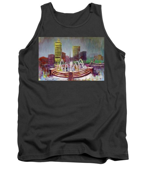 Fun In The Fountain In Asheville Tank Top by Gray  Artus