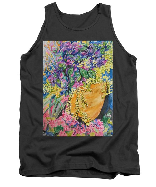Tank Top featuring the painting Garden Flowers In A Pot by Esther Newman-Cohen
