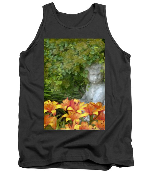 Tank Top featuring the photograph Garden Girl And Orange Lilies Digital Watercolor by Sandra Foster
