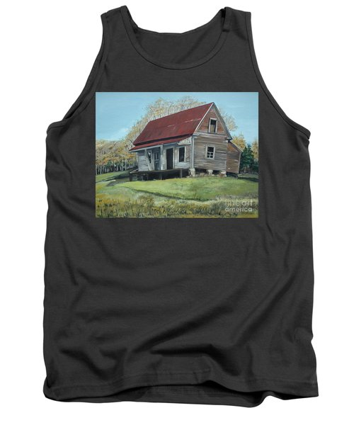 Tank Top featuring the painting Gates Chapel - Ellijay Ga - Old Homestead by Jan Dappen