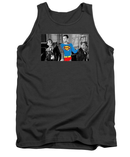 George Reeves As Superman In His 1950's Tv Show Apprehending Two Bad Guys 1953-2010 Tank Top