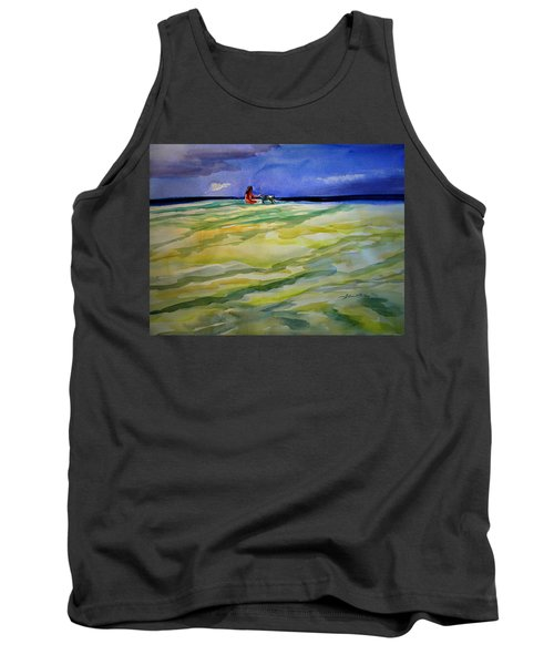 Girl With Dog On The Beach Tank Top