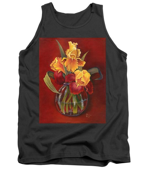 Gold N Red Iris Tank Top