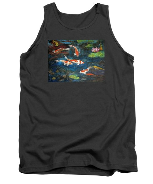 Tank Top featuring the painting Golden Fish by Jieming Wang