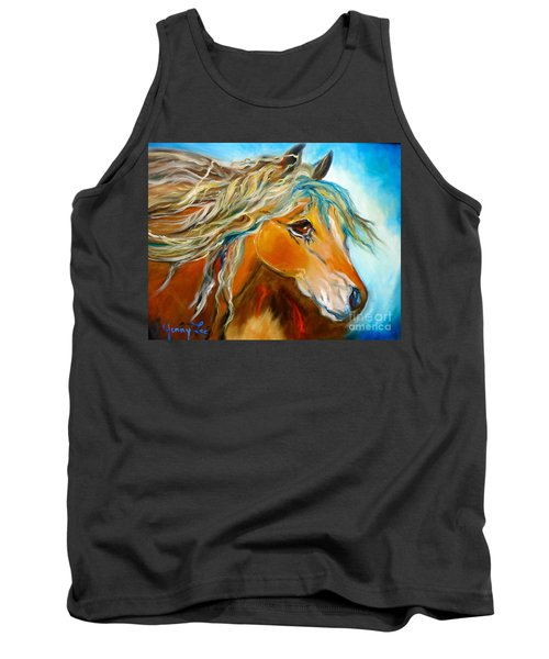 Tank Top featuring the painting Golden Horse by Jenny Lee