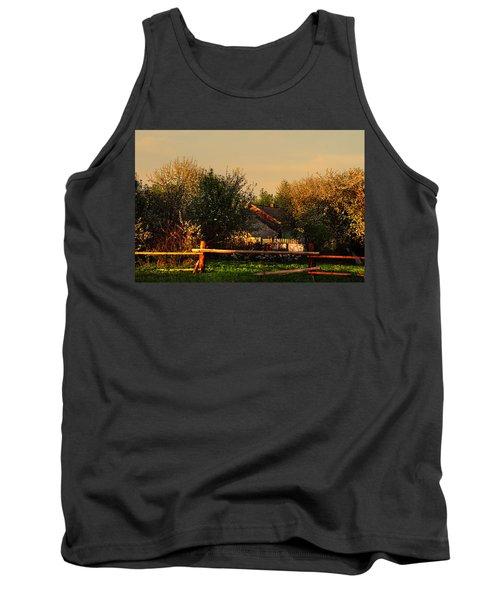 Golden Light On The Blooming Cherry Trees Tank Top